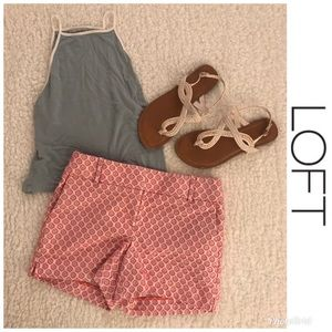 LOFT Pink and Blue Polka Dot Riviera Shorts